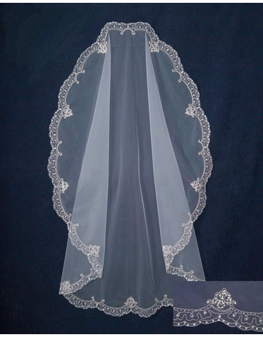 White Mantilla Veil with Silver Embroidery and Beaded Edge C301