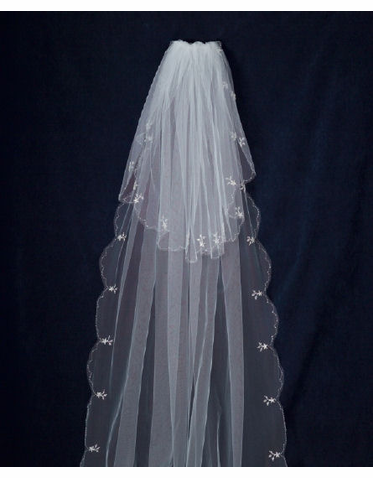 Beaded Cathedral Veil with Blusher C106