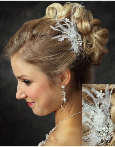 Large Rhinestone Hair Comb with Whispy Feathers 7019