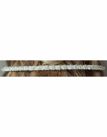 Narrow Headband with Crystals and Beads 7045