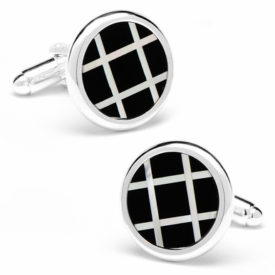 Polished Silver Onyx And Semi-precious Mother of Pearl Grid Cufflinks