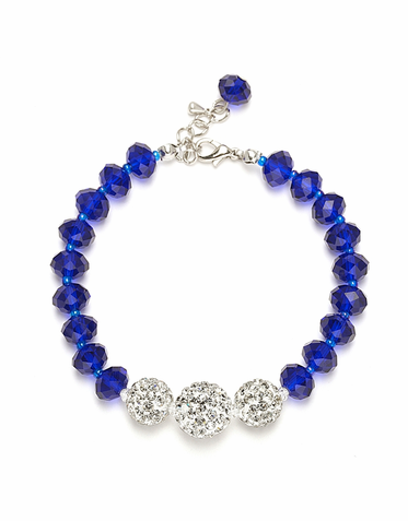 Hand Crafted Cut Glass Bead And Crystal Fireball Bracelet