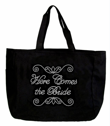 Rhinestone Here Comes the Bride Tote Bag in Choice of Colors
