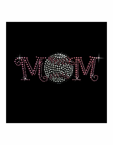 Pink Baseball Mom Rhinestone Transfer with Pink Rhinestuds