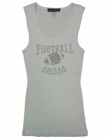 Rhinestone Football Mom Tank or T-Shirt with Nailheads