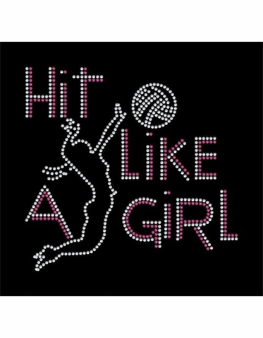 Hit Like a Girl Rhinestone Volleyball Tank Tee or Tote