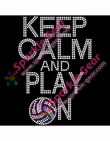 Keep Calm And Play On Rhinestone Volleyball Tank or Tee