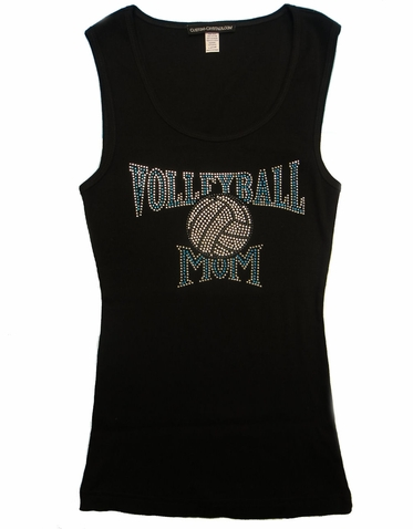 Rhinestone Volleyball Mom Tank or T-Shirt with Nailheads