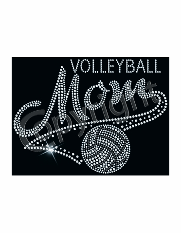 Shimmering Volleyball Mom Clear Rhinestone Tee or Tank