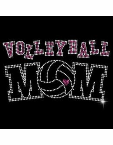 Sparkling Pink and Clear Rhinestone Volleyball Mom Shirt or Tote