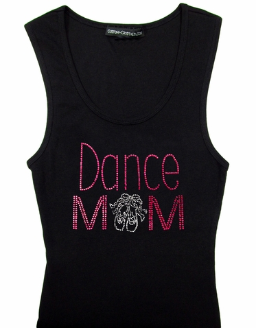 Custom Dance Mom with Shoes Rhinestone Tank Top or T-Shirt