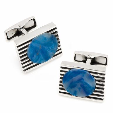 Sterling Retro Cufflinks With Blue And White Acrylic Inlays