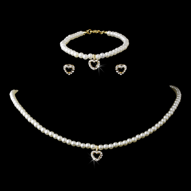 3 Piece Pearl Necklace Earring Bracelet Set C 403 in Gold Ivory
