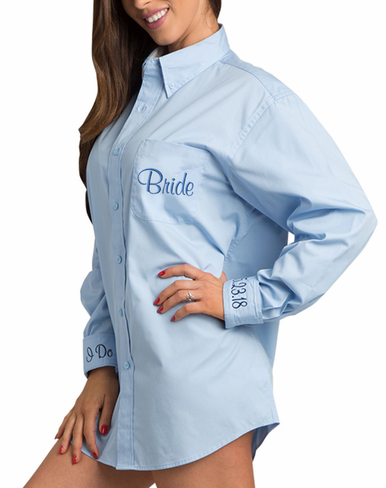 Embroidered Oversize Oxford Bridal Party Shirt