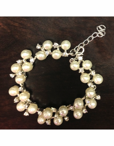 Pearl and Rhinestone Bridal Bracelet with Adjustable Clasp