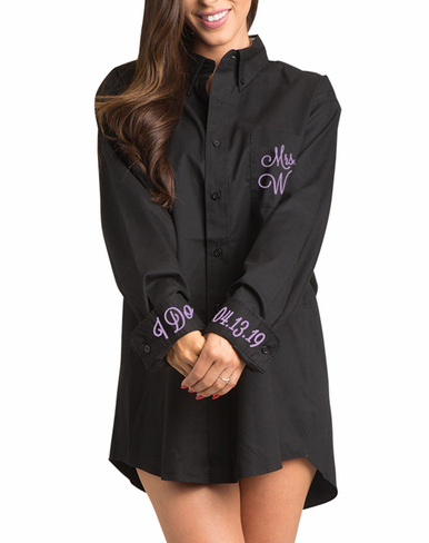 Embroidered Mrs. Oversized Oxford Shirt
