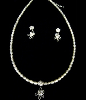 Freshwater Pearl and Rhinestone Necklace and Earring Jewelry Set-516M