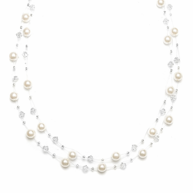 Lovely Custom Made 2-Strand Illusion Pearl Necklace In 3 Colors
