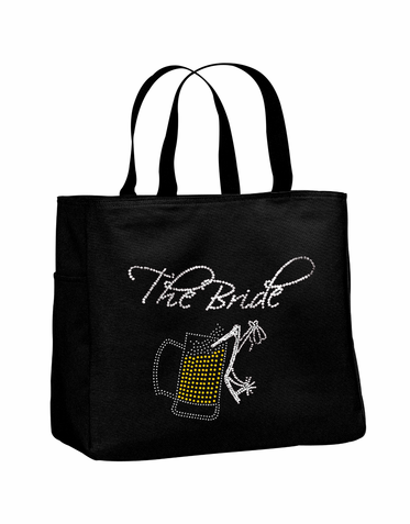 Rhinestone Beer Mug Bridal Party Tote Bags with Titles - Many Colors!