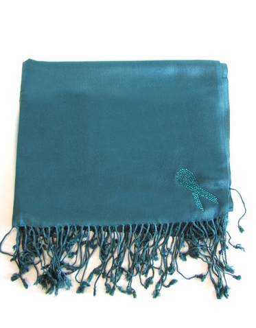 Awareness Ribbon Silk Pashmina with Crystal Ribbon