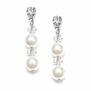 Dazzling Pearl And Crystal Earrings Custom Made In 26 Colors