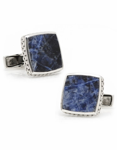 Sterling Silver Classic Scaled Lapis Cufflinks