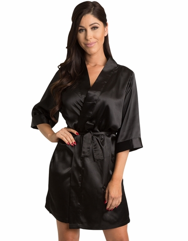 Black Satin Kimono Wedding Party Robe