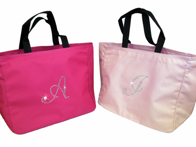 Crystal Initial Personalized Tote Bag with Optional Bow