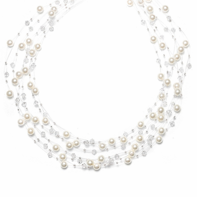 Hand Crafted Pearl And Crystal 6-Strand Illusion Necklace In 26 Custom Colors