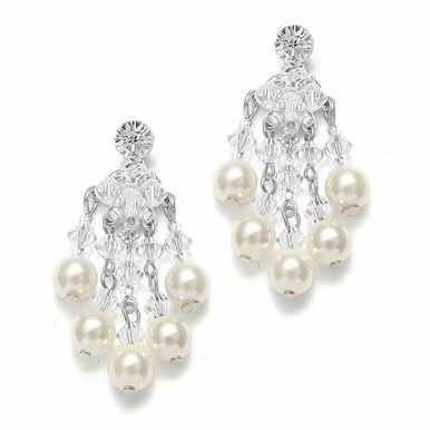 Custom Crafted Pearl And Crystal Chandelier Earrings In 26 Colors