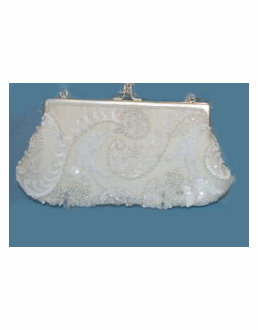 CLEARANCE: Ivory and White Wave Beaded Bridal Purse
