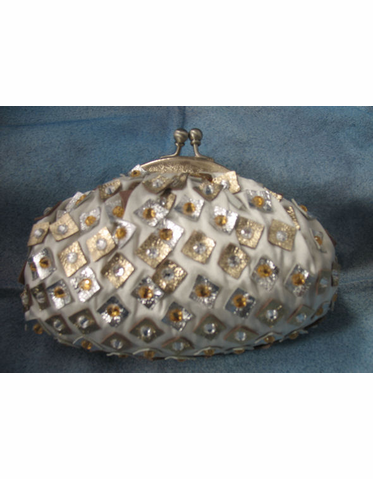 CLEARANCE: Santi Handbag - Satin and Leather Mosaic Bag in Silver and Gold