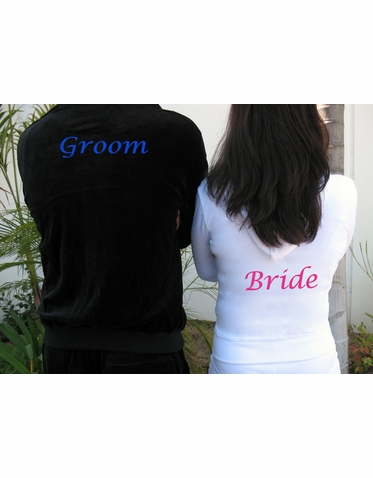 Set of Personalized Bride and Groom Velour Tracksuits