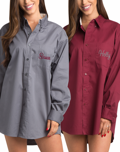 Sophisticated Steel Gray Oxford Oversize Monogram Shirt