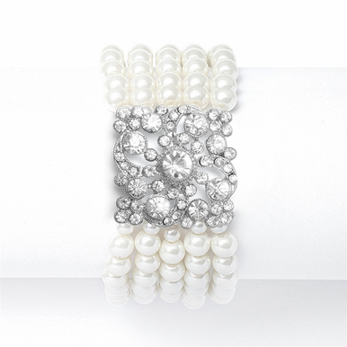 Opulent Vintage Style Pearl And CZ Bracelet