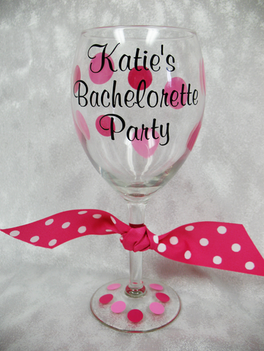 Personalized Bachelorette Party Wine Glass