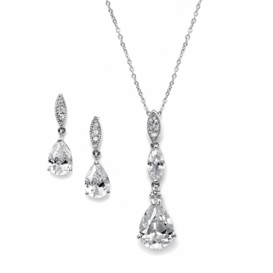 Elegant Drop Zirconia Necklace And Earring Set