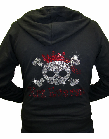 Rhinestone Bride Hoodie with Skull, Tiara and Veil with Optional Pants