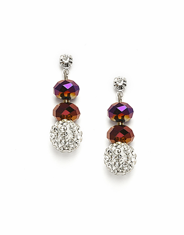 Elegant Custom Made Cut Glass And Swarovski Crystal Fireball Earrings  Available In 22 Colors