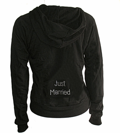 Custom Rhinestone Hoodie with Just Married, Etc.