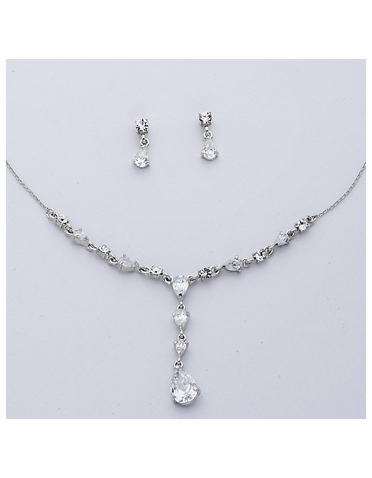 Rhodium-plated Cubic Zirconia Teardrop Necklace & Earring Set