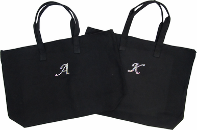 Zippered Tote Bag with AB/Iridescent Crystal Initial