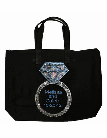 Black Canvas Tote for Bride - Personalized Giant Rhinestone Ring