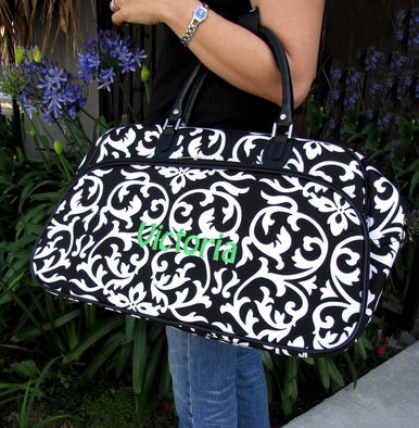 Damask Bowling Bag Style Duffle with Black Trim - Personalize It!