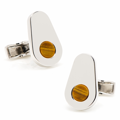 Sterling Silver Elliptic Cufflinks With Tiger's Eye