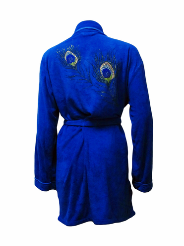 CLEARANCE: Blue Peacock Design Robe by Wrap Up