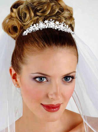 Jessica McClintock Pearl and Crystal Spray Headpiece JH117M