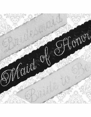 Rhinestones and Lace Bridesmaid Sash - Personalized