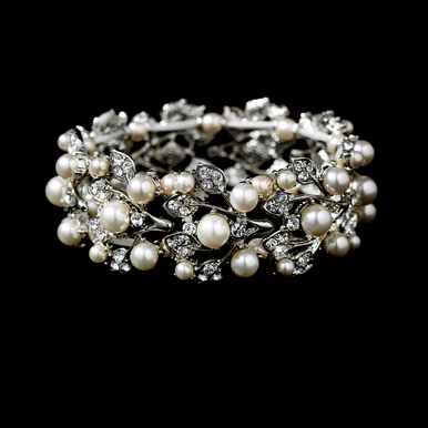 Silver and Pearl Bracelet with Vine Design