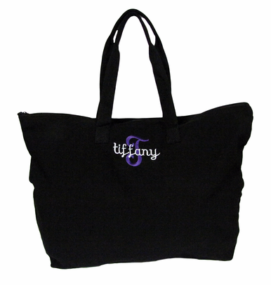 Two Font Overlay Tote Bag with Optional Bow